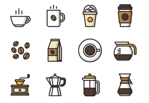 629x436 Free 12 Vector Coffee Icons Free Webgraphic Design Resources