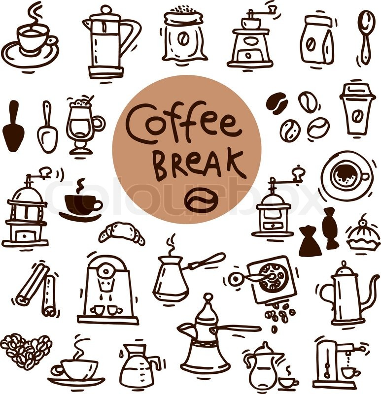 773x800 Sketch Doodle Coffee Icon Set. Hand Drawn Vector Illustrations