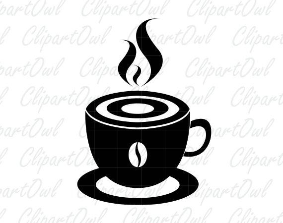 570x450 Coffee Cup Mug Silhouette Clipart Coffee Break Coffee Icon Etsy