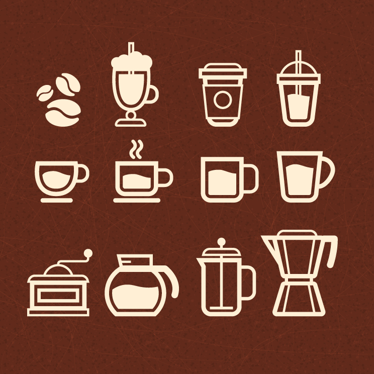 744x744 Coffee Icon Set Free Vector Graphic Download