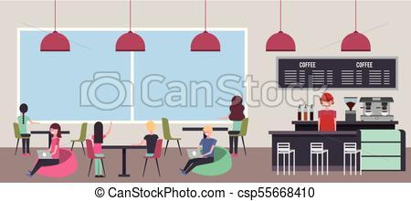 450x220 People Coffee Shop. Coffee Shop People Customer And Barista