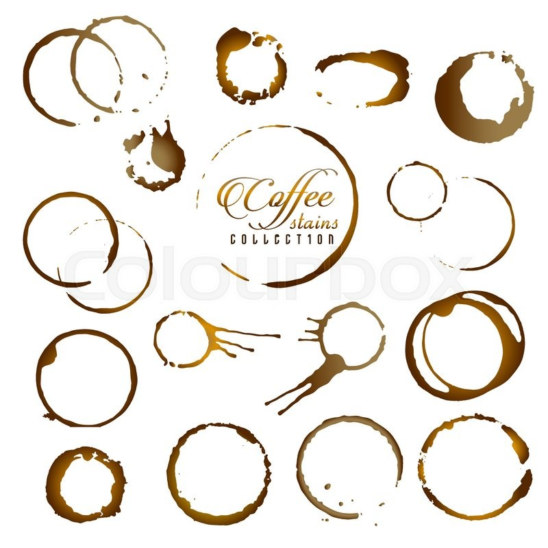 800x800 Vector Set Of Isolated Coffee Stain Ring. Coffee Cup Ring Stain