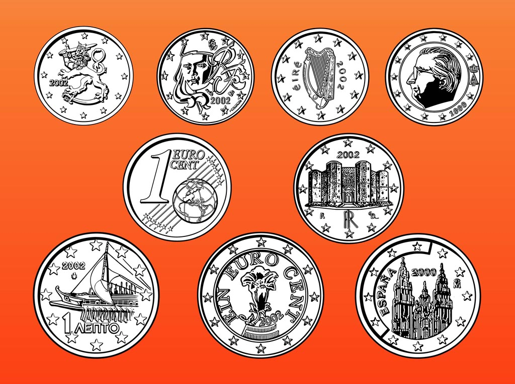 1024x765 Euro Coins Vector Art Amp Graphics
