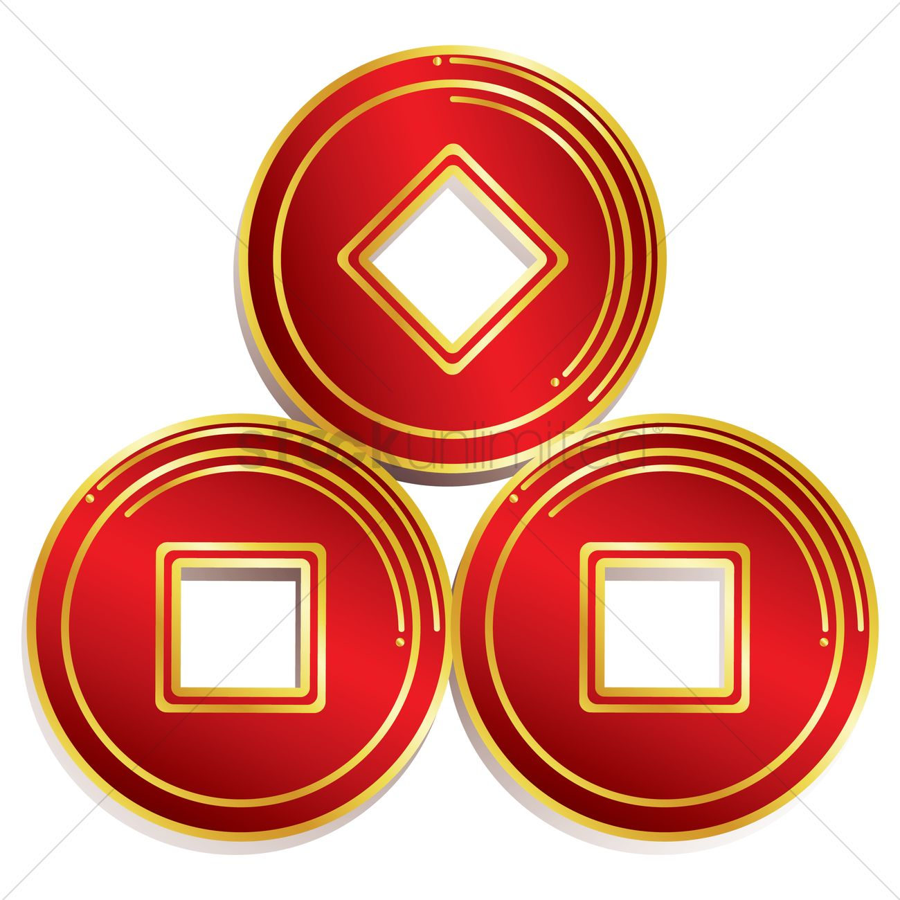 1300x1300 Free Chinese New Year Gold Coins Vector Image