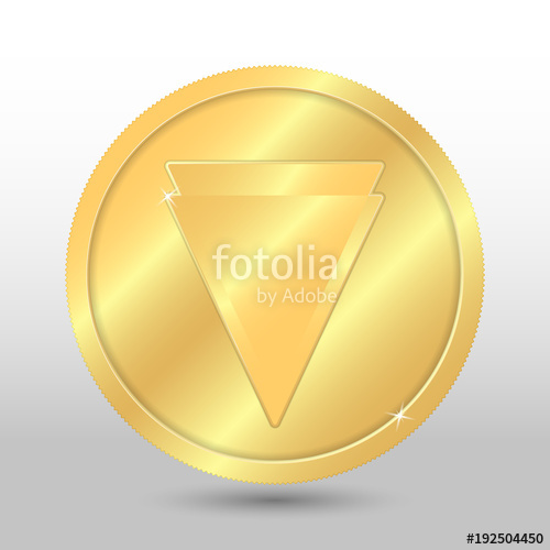 500x500 Gold Verge Coin. Vector Crypto Currency Illustration On A Gray