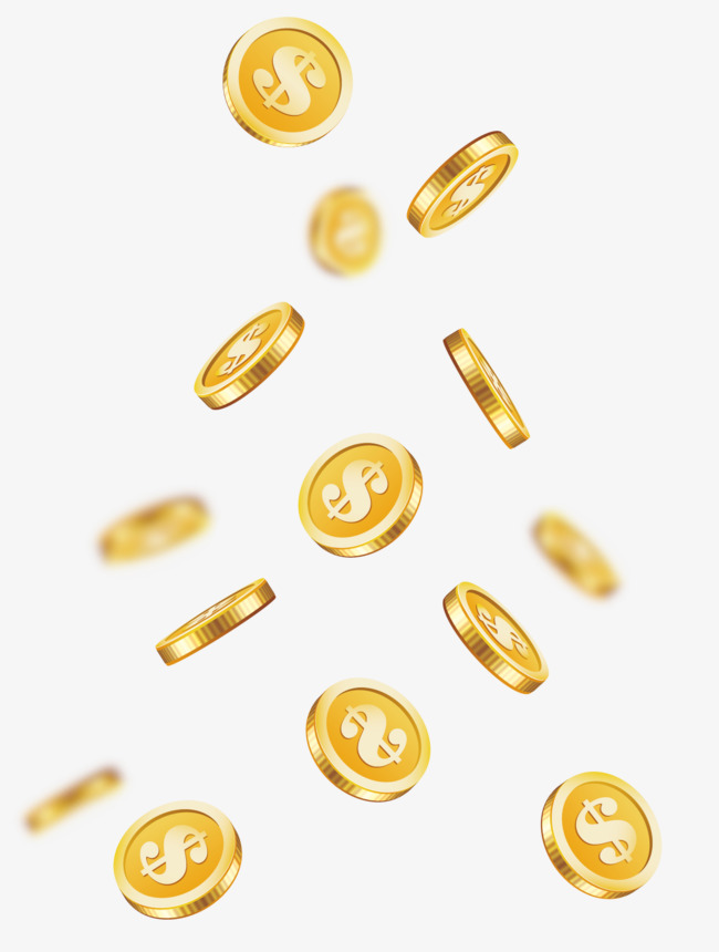 650x860 Cartoon Floating Gold Coin Vector Png, Cartoon Gold Coins