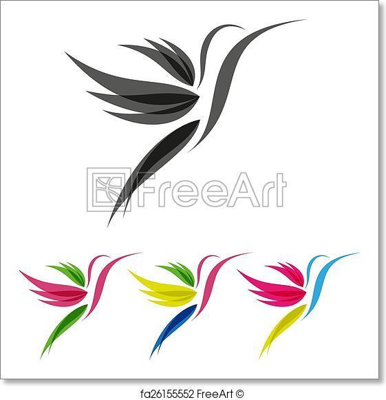 561x581 Free Art Print Of Colored Stylized Colibri. Vector Colored
