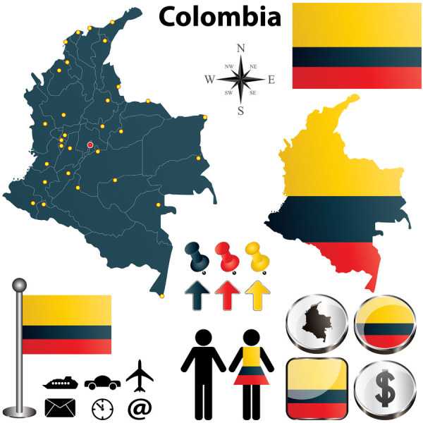 600x600 Colombia Colombia Free Vector Map Vector Sources
