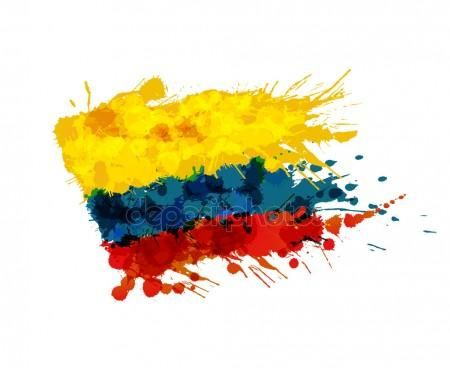 450x368 Bandera De Colombia De Las Salpicaduras De Colores Vector De Stock