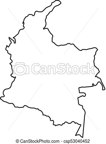 347x470 Colombia Map Of Black Contour Curves Of Vector Illustration.