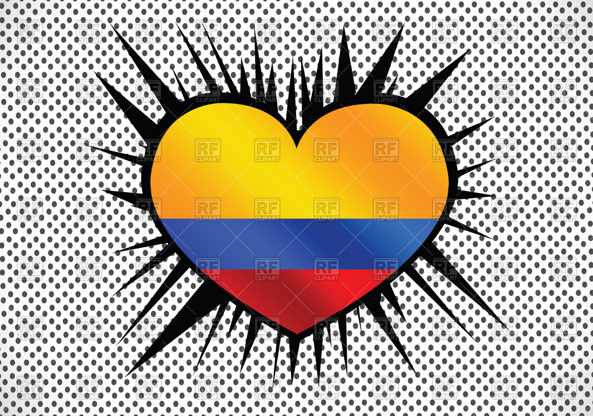 1200x841 Heart Shaped Flag Of Colombia Vector Image Vector Artwork Of