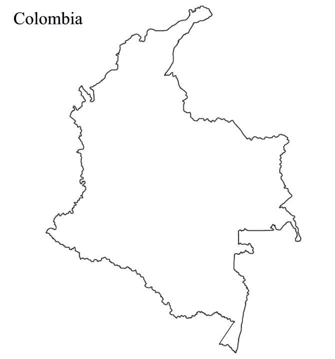 671x720 Blank Map Of Colombia Vector Maps Of Colombia Free Vector Maps