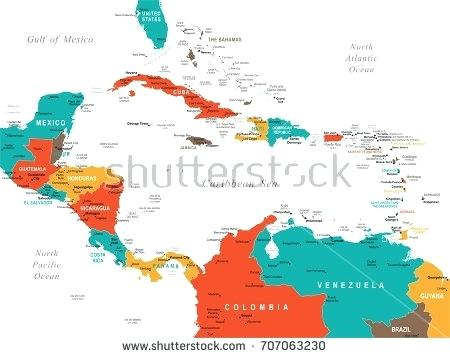 450x358 Central Map Detailed Vector Illustration Political Of Colombia