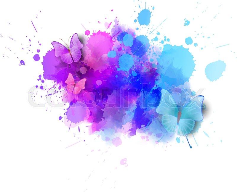 800x649 Watercolor Imitation Color Splash With Butterflies. Design Element