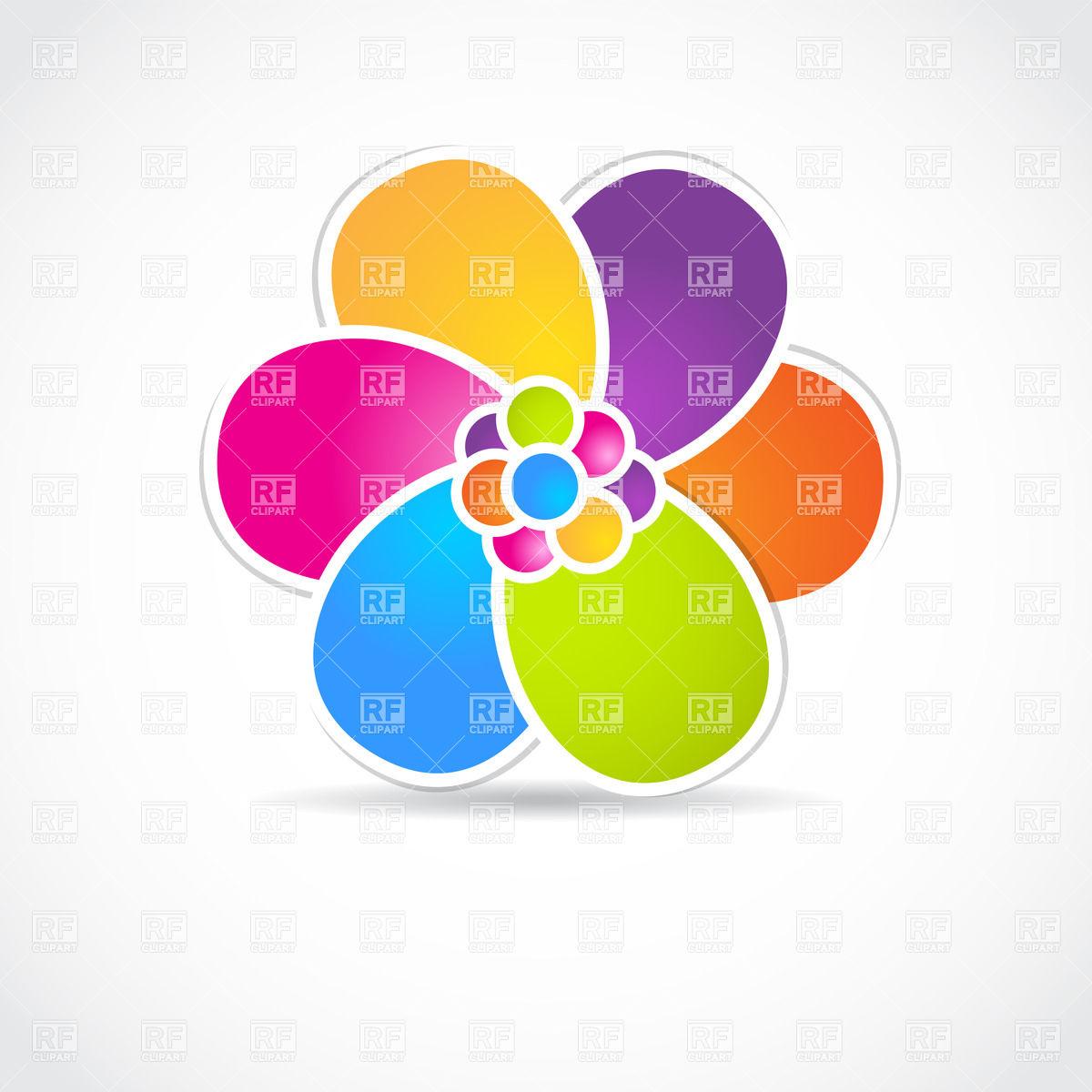 1200x1200 Flower Shaped Color Wheel With Motley Petals Vector Image Vector