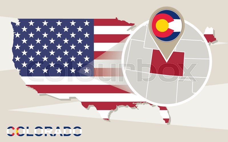 799x499 Usa Map With Magnified Colorado State. Colorado Flag And Map