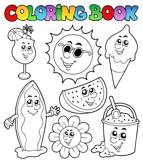 500x566 Coloring Book Vector Set 01 Free Download