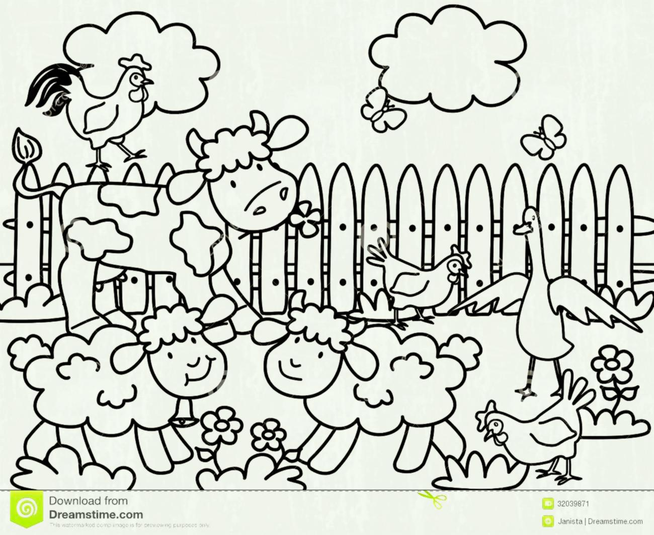 1300x1065 Farm Animals Cartoon For Coloring Book Black And White Vector