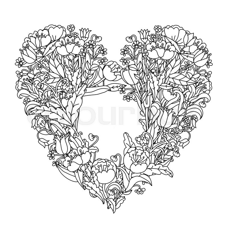 800x800 Hand Drawin Uncolored Elements. Black And White. Heart Shape In