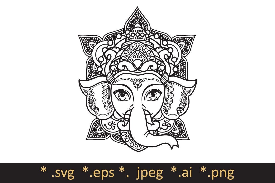1158x772 Lord Ganesha. Template For Coloring Book. Cutting File Svg. Vector