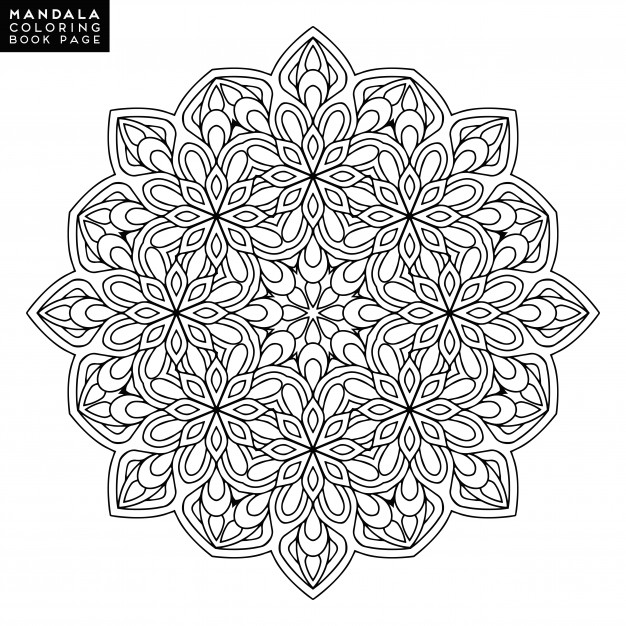 626x626 Outline Mandala For Coloring Book. Decorative Round Ornament. Anti