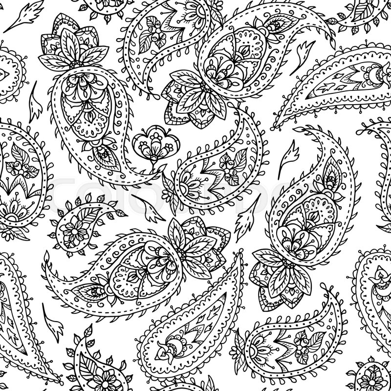 800x800 Seamless Indian Paisley Pattern. Black And White Illustration For