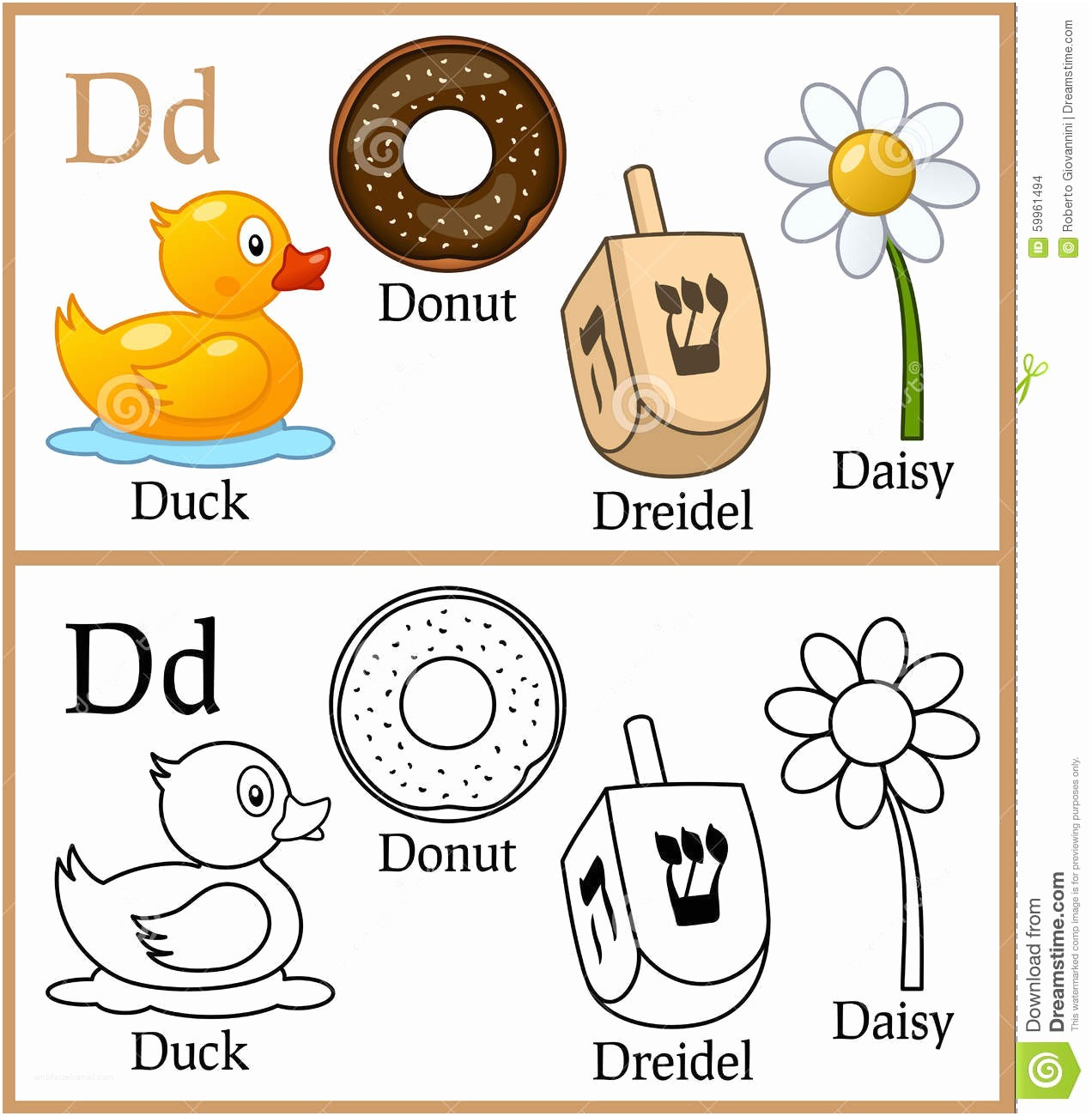 1272x1300 Small Letter Start D Object Drawing Coloring Book For Children