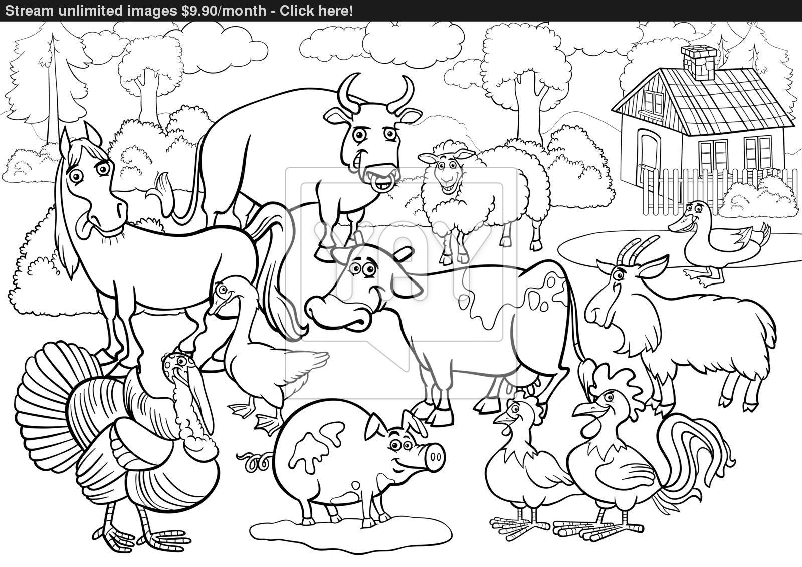 1600x1132 Farm Animals Cartoon For Coloring Book Vector