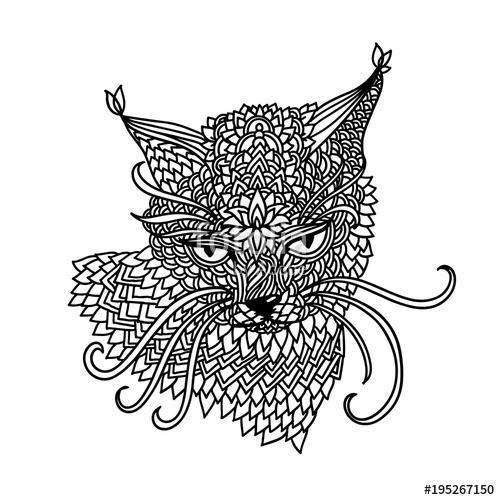500x500 Cat In Mandala Pattern Style. Zentagle Black And White Background