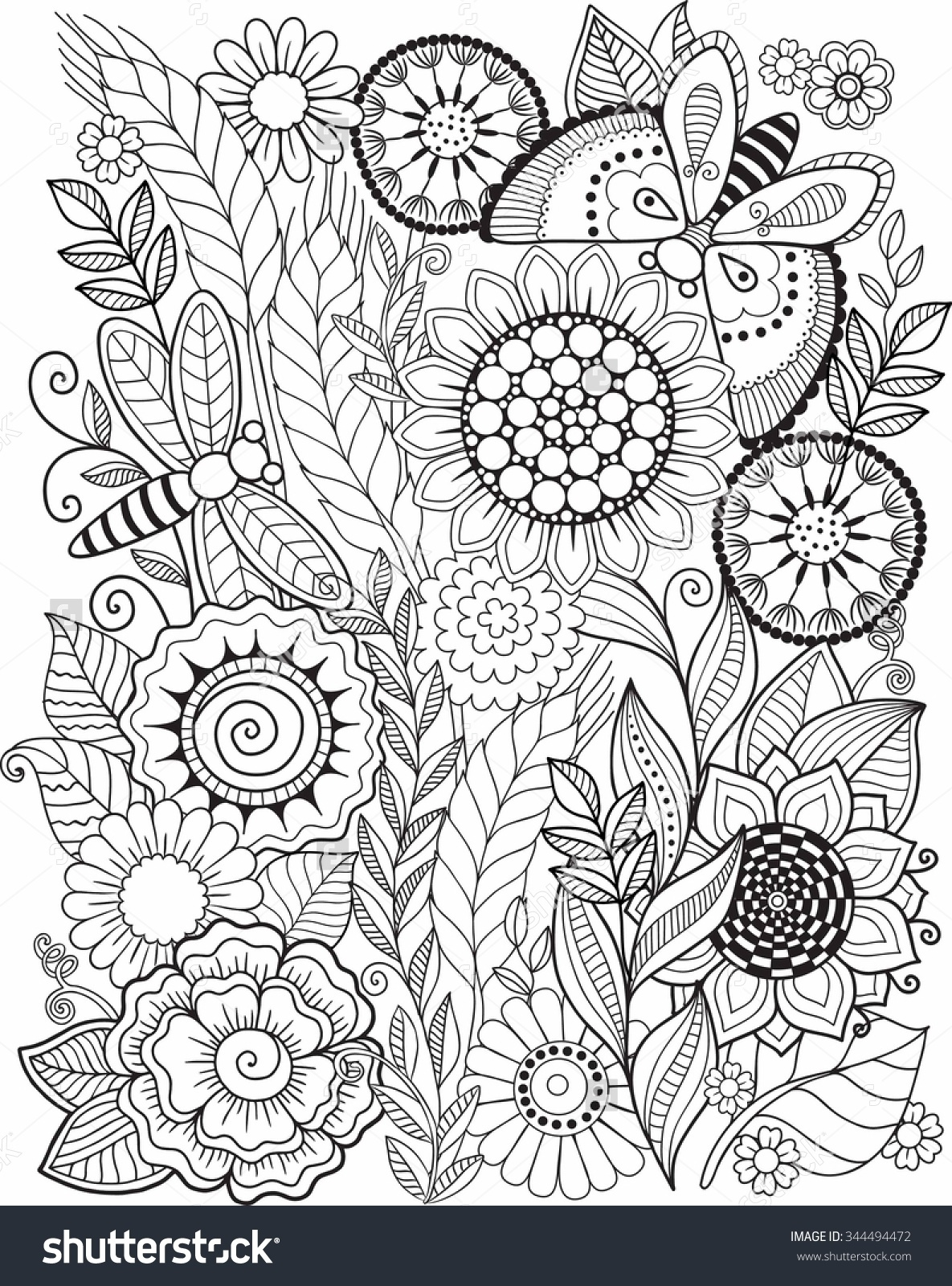 1185x1600 Coloring Book For Adult Summer Flowers Vector Elements 344494472