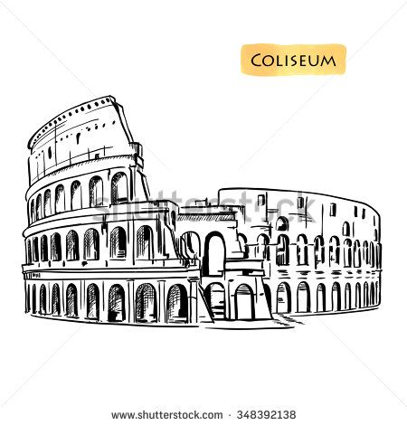 450x470 Coliseum In Rome, Italy. Colosseum Hand Drawn Vector Illustration