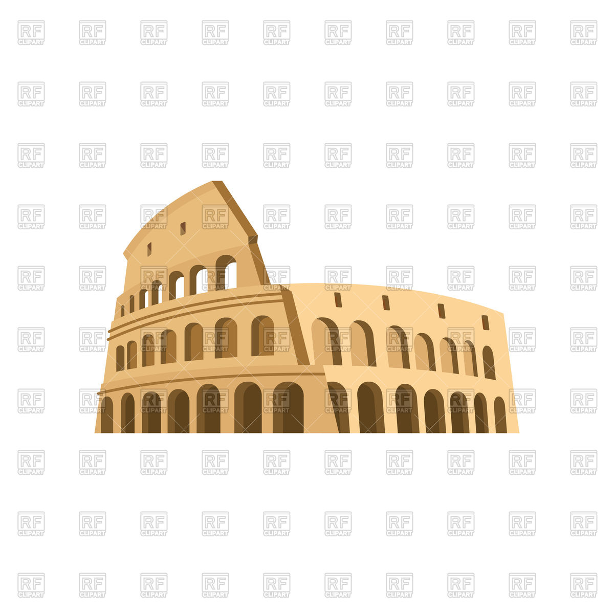 1200x1200 Colosseum In Rome On A White Background Vector Image Vector