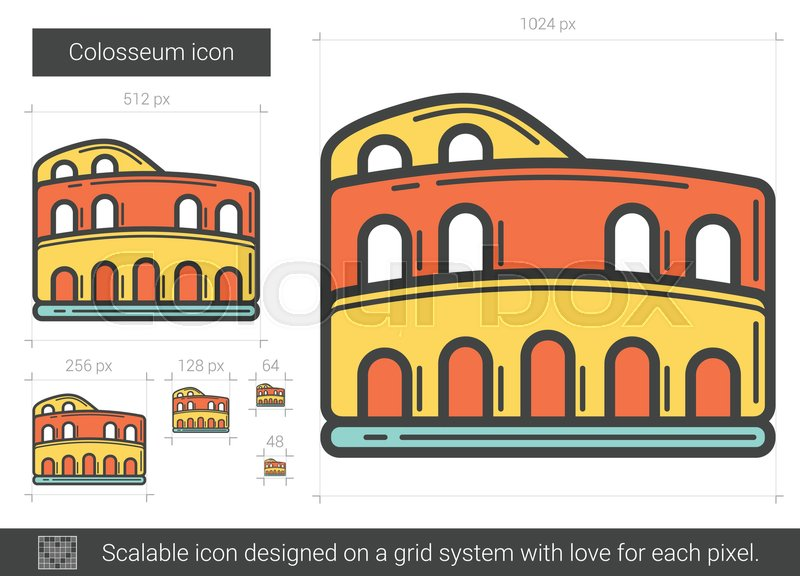 800x576 Colosseum Vector Line Icon Isolated On White Background. Colosseum