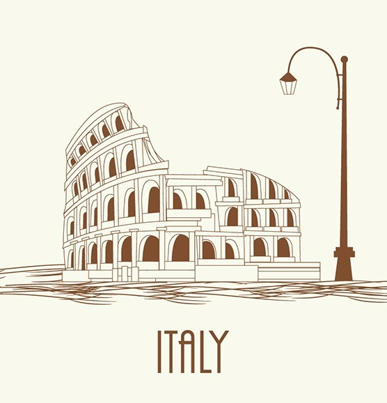 556x579 Free Italy Colosseum Vector Illustration