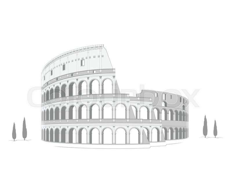 800x667 Highly Detailed Drawing Of Roman Colosseum. Stock Vector Colourbox