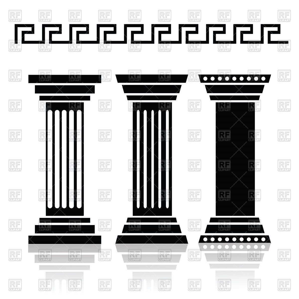 1200x1200 Silhouettes Of Ancient Columns And Greek Pattern Vector Image
