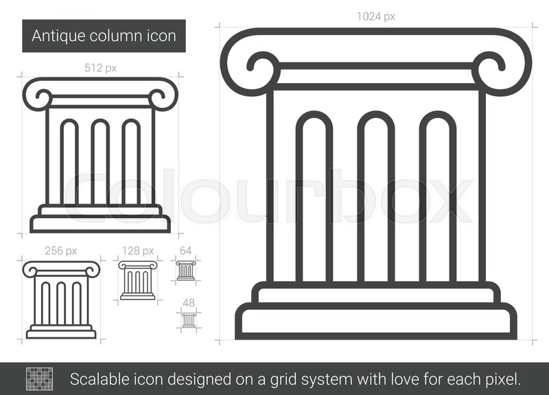 800x576 Antique Column Vector Line Icon Isolated On White Background