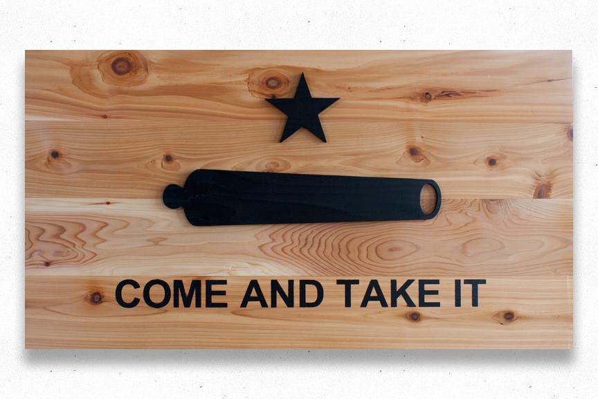 864x576 Come And Take It Natural Wood Flag Patriot Wood