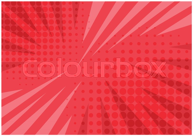 800x565 Abstract Bright Red Striped Retro Comic Background With Halftone