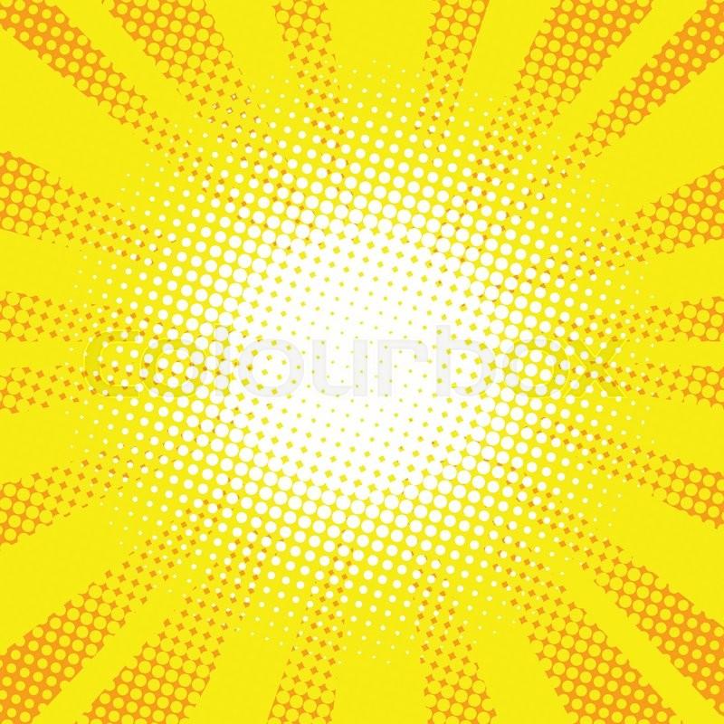 800x800 Yellow Rays Pop Art Retro Comic Background Vector Illustration