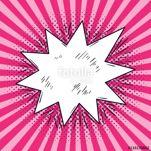 500x500 Comic Speech Bubble Pop Art Sketch On Pink Background. Vector