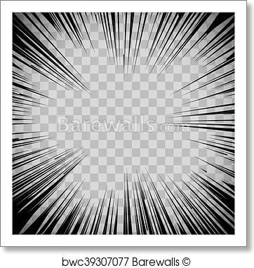 362x382 Art Print Of Manga Comic Book Flash Explosion Radial Lines