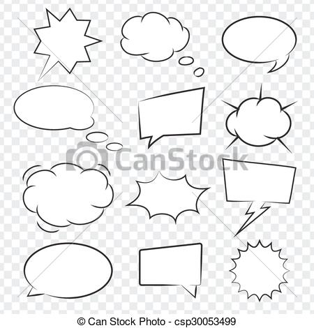 450x470 Collection Of Comic Book Speech Bubbles, Excellent Vector