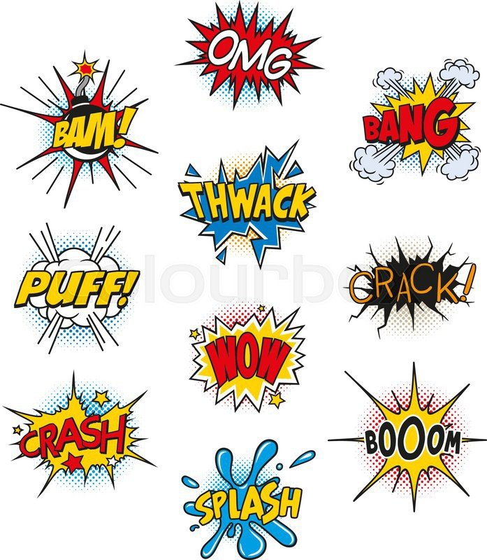 697x800 Set Of Retro Comic Book Vector Design Elements, Speech And Thought