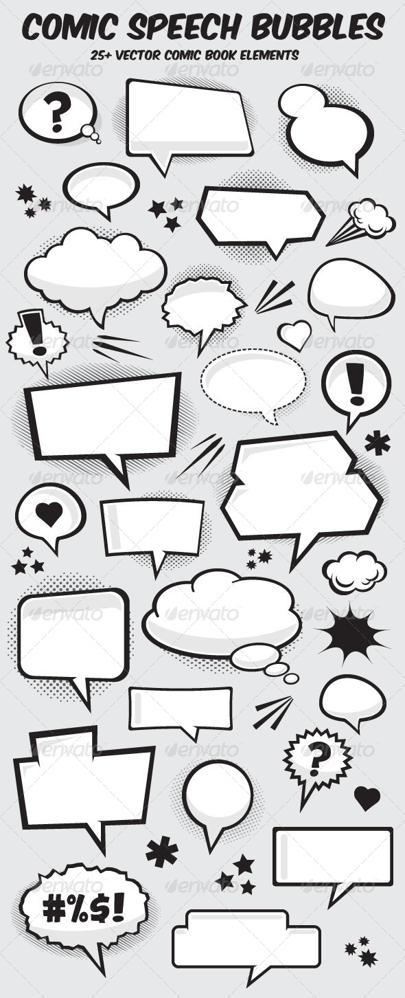 590x1452 Comic Book Vector Speech Bubbles By Graphicmonkee Graphicriver