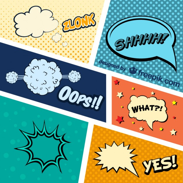 626x626 Comic Book Graphic Elements Vector Free Download