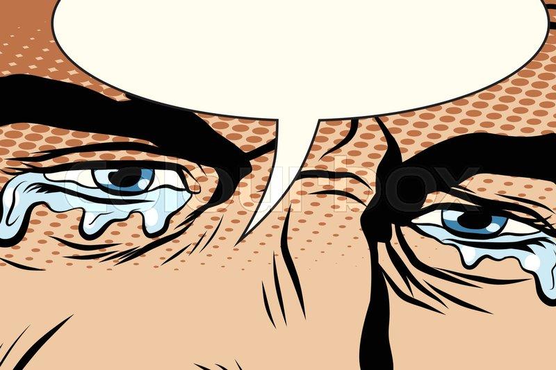800x533 Retro Man Cries, Tears In The Eyes, Pop Art Comic Book Vector