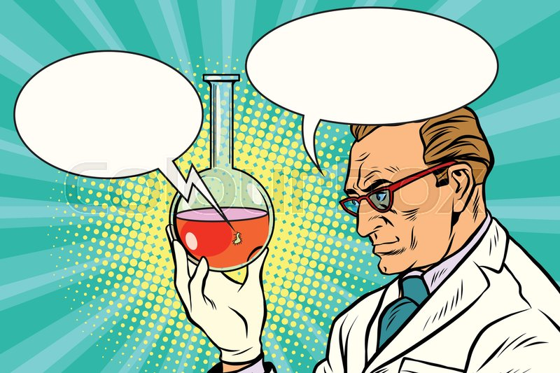 800x533 Scientist Chemist Talks About The Analysis. Pop Art Retro Comic