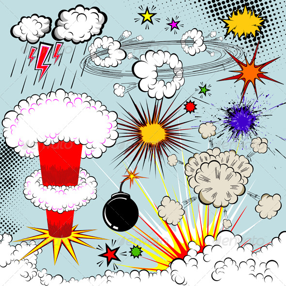 590x590 Vector Comic Book Explosion Elements For Your Designs By