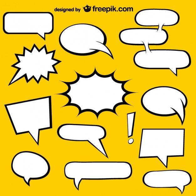 626x626 Comic Book Speech Bubbles Elements Free Vector Free Vectors